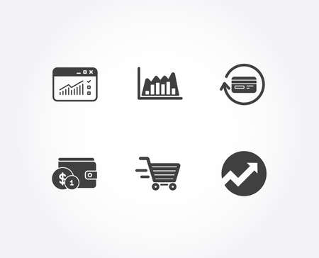 Set of Web traffic, Refund commission and Delivery shopping icons. Buying accessory, Infographic traffic graph and Audit signs. Website window, Cashback card, Online buying. Vector Illusztráció