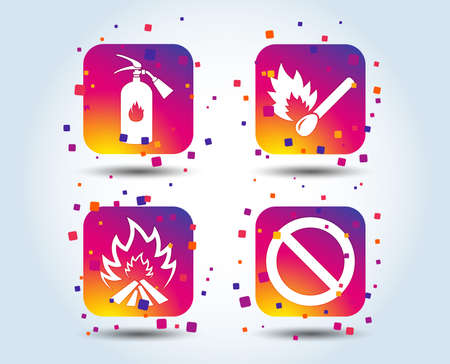 Fire flame icons. Fire extinguisher sign. Prohibition stop symbol. Burning matchstick. Colour gradient square buttons. Flat design concept. Vector