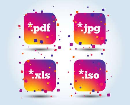 Iconos de documento. Símbolos de extensiones de archivo. Señales de conducción virtuales PDF, XLS, JPG e ISO. Botones cuadrados degradados de color. Concepto de diseño plano. Vector