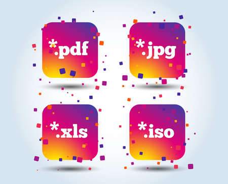 Document icons. File extensions symbols. PDF, XLS, JPG and ISO virtual drive signs. Colour gradient square buttons. Flat design concept. Vector Illustration