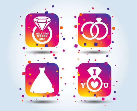 Wedding dress icon. Bride and groom rings symbol. Wedding or engagement day ring with diamond sign. Will you marry me? Colour gradient wedding square buttons. Flat design concept. Vector