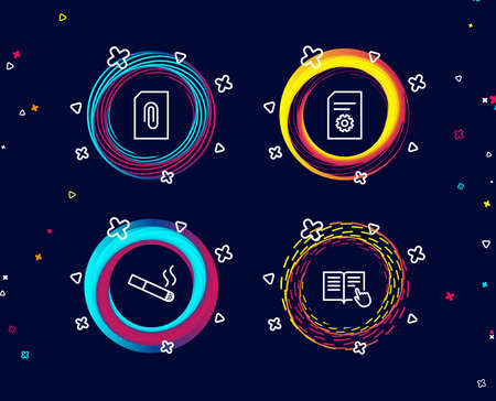 Set of Attachment, Smoking and File settings icons. Read instruction sign. Attach document, Cigarette, File management. Opened book.  Circle banners with line icons. Gradient colors shapes. Vector Ilustração