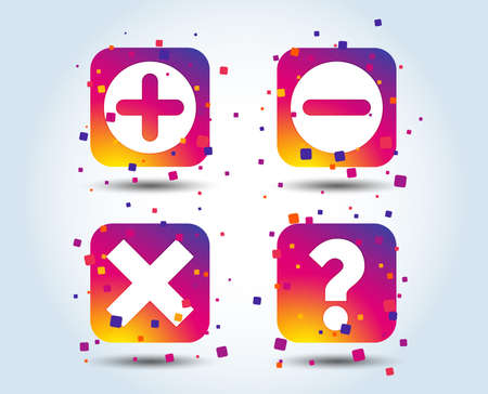 Plus and minus icons. Delete and question FAQ mark signs. Enlarge zoom symbol. Colour gradient square buttons. Flat design concept. Vector