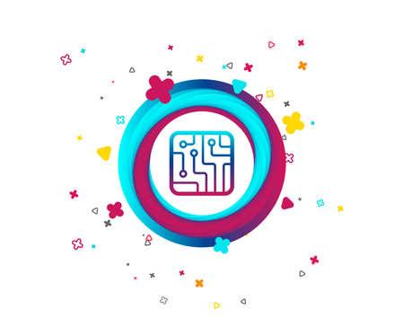 Circuit board sign icon. Technology scheme square symbol. Colorful button with icon. Geometric elements. Vector Vektorové ilustrace