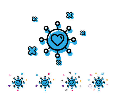 Love dating line icon. Relationships network sign. Valentines day or Heart symbol. Line icon with geometric elements. Bright colourful design. Vector