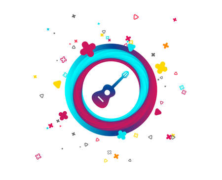 Acoustic guitar sign icon. Music symbol. Colorful button with icon. Geometric elements. Vector Archivio Fotografico - 107136567