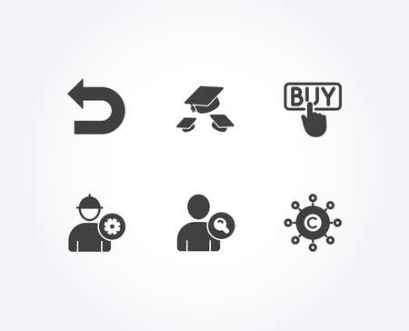 Set of Buying, Find user and Engineer icons. Throw hats, Undo and Copywriting network signs. E-commerce shopping, Search person, Worker with cogwheel. College graduation, Left turn, Content networking