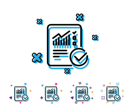 Checklist document line icon. Analysis Chart or Sales growth report sign. Statistics data symbol. Line report icon with geometric elements. Bright colourful design. Vector Reklamní fotografie - 107136596