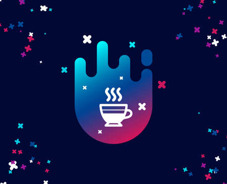 Cafe creme icon. Hot drink sign. Beverage symbol. Cool banner with icon. Abstract shape with gradient. Vector