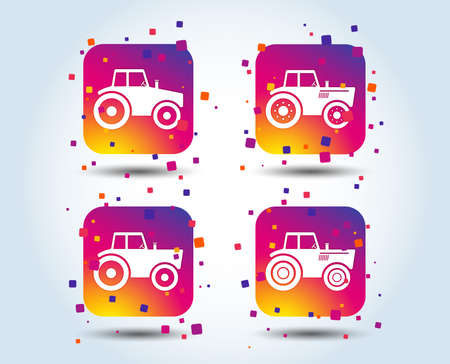 Tractor icons. Agricultural industry transport symbols. Colour gradient square buttons. Flat design concept. Vector