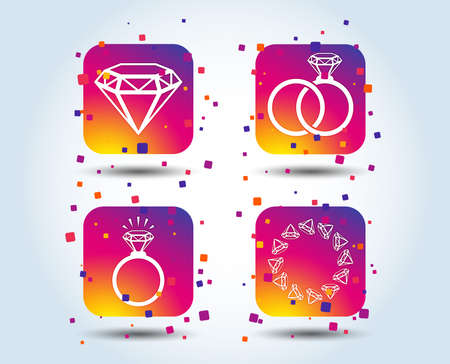 Rings icons. Jewelry with shine diamond signs. Wedding or engagement symbols. Colour gradient square buttons. Flat design concept. Vector
