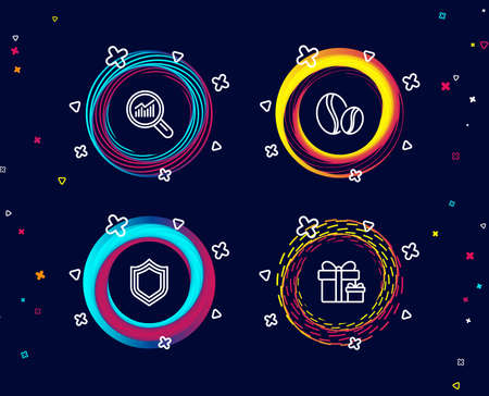 Set of Security, Data analysis and Coffee beans icons. Surprise package sign. Protection shield, Magnifying glass, Whole bean. Present boxes.  Circle banners with line icons. Gradient colors shapes