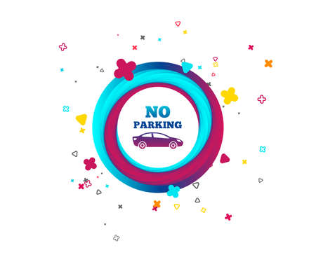 No parking sign icon. Private territory symbol. Colorful button with icon. Geometric elements. Vector