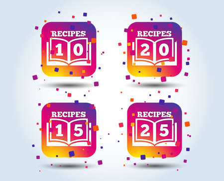 Cookbook icons. 10, 15, 20 and 25 recipes book sign symbols. Colour gradient square buttons. Flat design concept. Vector Illustration