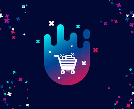 Shopping cart simple icon. Sale Marketing symbol. Special offer sign. Cool banner with icon. Abstract shape with gradient. Vector