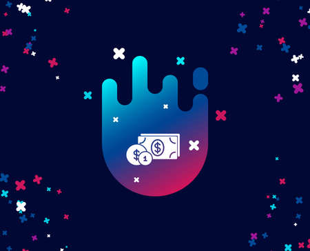 Cash money with Coins simple icon. Banking currency sign. Dollar or USD symbol. Cool banner with icon. Abstract shape with gradient. Vector Illustration