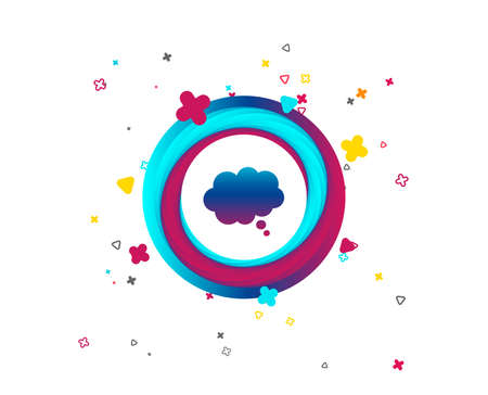 Comic speech bubble sign icon. Chat think symbol. Colorful button with icon. Geometric elements. Vector