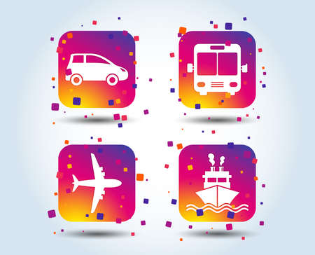 Transport icons. Car, Airplane, Public bus and Ship signs. Shipping delivery symbol. Air mail delivery sign. Colour gradient square buttons. Flat design concept. Vector