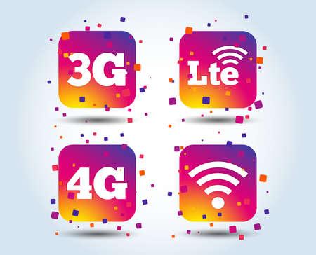 Iconos de telecomunicaciones móviles. Símbolos de tecnología 3G, 4G y LTE. Señales de evolución inalámbrica y a largo plazo de Wi-Fi. Botones cuadrados degradados de color. Concepto de diseño plano. Vector