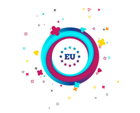 European union icon. EU stars symbol. Colorful button with icon. Geometric elements. Vector Banque d'images - 107136735