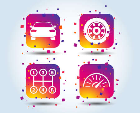 Transport icons. Car tachometer and mechanic transmission symbols. Wheel sign. Colour gradient square buttons. Flat design concept. Vector