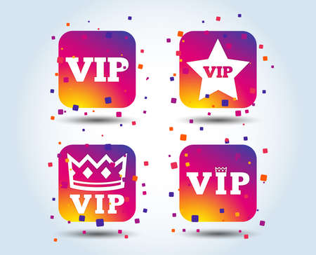 VIP icons. Very important person symbols. King crown and star signs. Colour gradient square buttons. Flat design concept. Vector