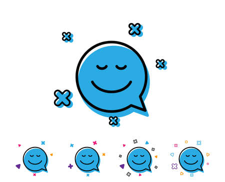 Comic speech bubble with Smile line icon. Chat emotion sign. Line smile icon with geometric elements. Bright colourful design. Vector