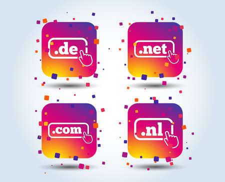 Top-level internet domain icons. De, Com, Net and Nl symbols with hand pointer. Unique national DNS names. Colour gradient square buttons. Flat design concept. Vector