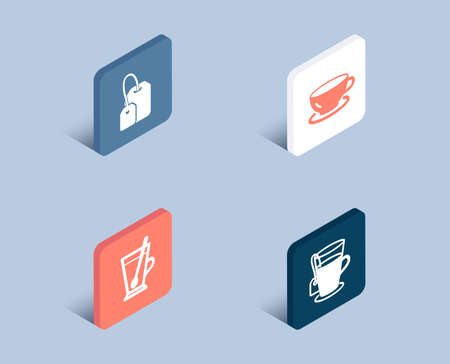 Set of Tea mug, Tea bag and Espresso icons. Cup with teaspoon, Brew hot drink, Coffee cup. Glass mug.  3d isometric buttons. Flat design concept. Vector Ilustração