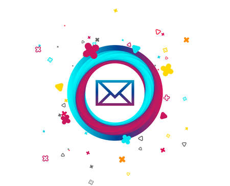 Mail icon. Envelope symbol. Message sign. Mail navigation button. Colorful button with icon. Geometric elements. Vector