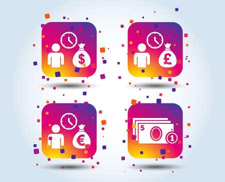 Bank loans icons. Cash money bag symbols. Borrow money sign. Get Dollar money fast. Colour gradient square buttons. Flat design concept. Vector