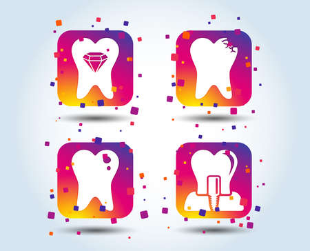 Dental care icons. Caries tooth sign. Tooth endosseous implant symbol. Tooth crystal jewellery. Colour gradient square buttons. Flat design concept. Vector