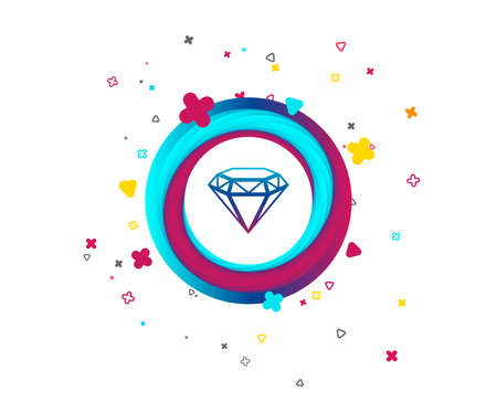 Diamond sign icon. Jewelry symbol. Gem stone. Colorful button with icon. Geometric elements. Vector  イラスト・ベクター素材
