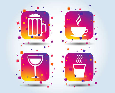 Drinks icons. Coffee cup and glass of beer symbols. Wine glass sign. Colour gradient square buttons. Flat design concept. Vector Ilustracja