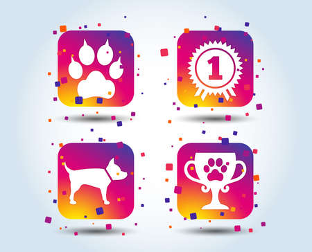 Pets icons. Cat paw with clutches sign. Winner cup and medal symbol. Dog silhouette. Colour gradient square buttons. Flat design concept. Vector