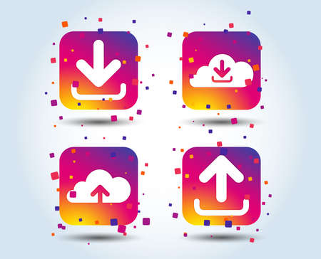 Download now icon. Upload from cloud symbols. Receive data from a remote storage signs. Colour gradient square buttons. Flat design concept. Vector