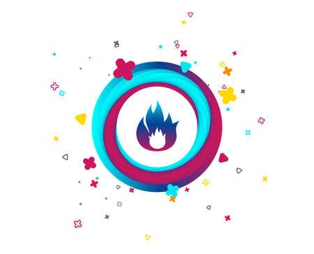 Icona del segno di fiamma di fuoco. Simbolo del fuoco. Ferma il fuoco. Fuga dal fuoco. Pulsante colorato con icona. Elementi geometrici. Vettore