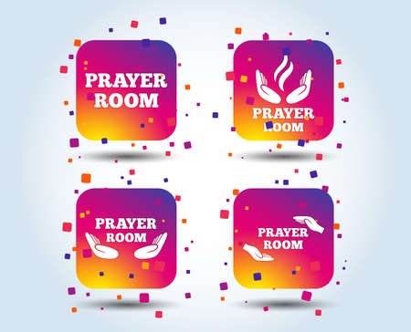 Prayer room icons. Religion priest faith symbols. Pray with hands. Colour gradient square buttons. Flat design concept. Vector