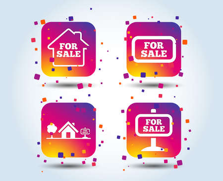 For sale icons. Real estate selling signs. Home house symbol. Colour gradient square buttons. Flat design concept. Vector Çizim