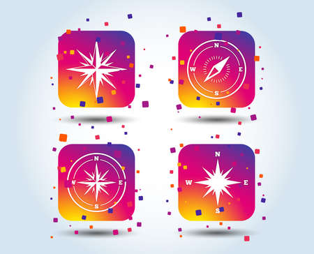 Windrose navigation icons. Compass symbols. Coordinate system sign. Colour gradient square buttons. Flat design concept. Vector Foto de archivo - 111103055