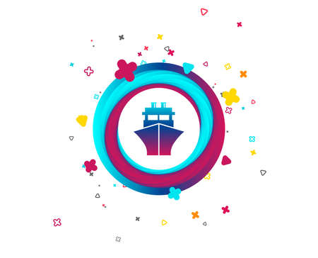 Ship or boat sign icon. Shipping delivery symbol. Colorful button with icon. Geometric elements. Vector Illustration