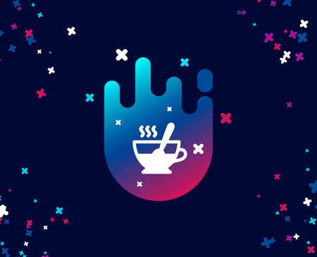 Cup with spoon simple icon. Fresh beverage sign. Latte or Coffee symbol. Cool banner with icon. Abstract shape with gradient. Vector Ilustração