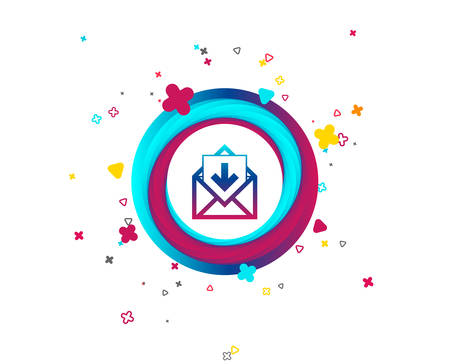 Mail icon. Envelope symbol. Inbox message sign. Mail navigation button. Colorful button with icon. Geometric elements. Vector