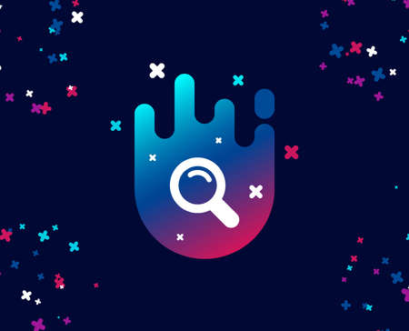 Search simple icon. Magnifying glass sign. Enlarge tool symbol. Cool banner with icon. Abstract shape with gradient. Vector Ilustração