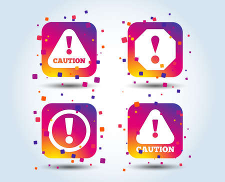 Attention caution icons. Hazard warning symbols. Exclamation sign. Colour gradient square buttons. Flat design concept. Vector