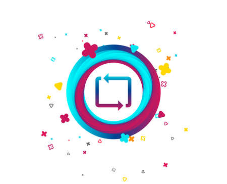 Repeat icon. Loop symbol. Refresh sign. Colorful button with icon. Geometric elements. Vector