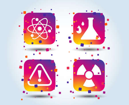 Attention and radiation icons. Chemistry flask sign. Atom symbol. Colour gradient square buttons. Flat design concept. Vector