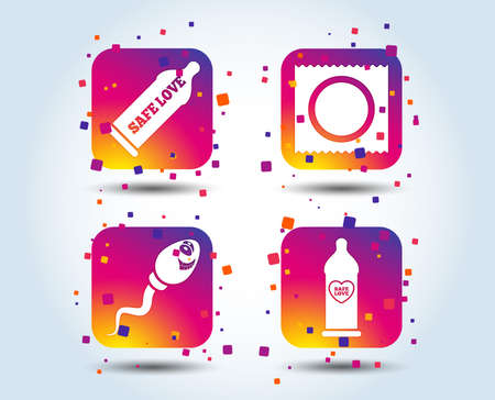 Safe sex love icons. Condom in package symbol. Sperm sign. Fertilization or insemination. Heart symbol. Colour gradient square buttons. Flat design concept. Vector  イラスト・ベクター素材