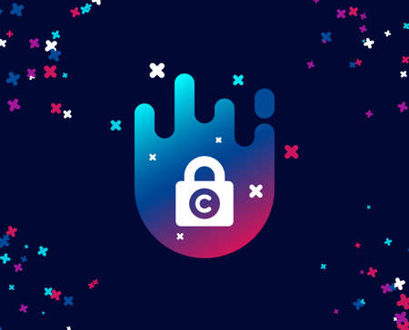 Ð¡opyright locker simple icon. Copywriting sign. Private Information symbol. Cool banner with icon. Abstract shape with gradient. Vector Stockfoto - 111103064