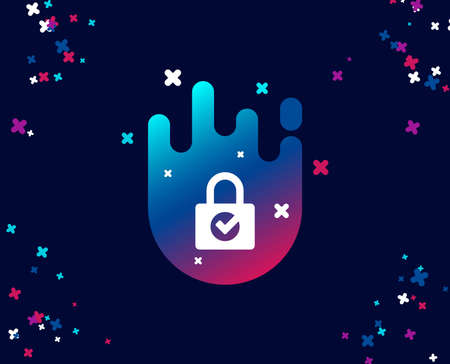 Lock with Check simple icon. Private locker sign. Password encryption symbol. Cool banner with icon. Abstract shape with gradient. Vector